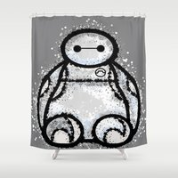 baymax Shower Curtains featuring Baymax by grapeloverarts