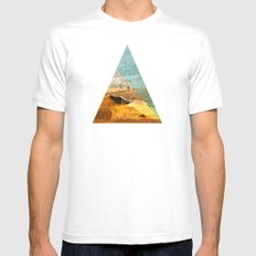Go travel the world - rice field and geometric typography art MEDIUM White Mens Fitted Tee