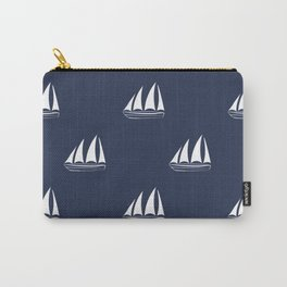 White Sailboat Pattern on navy blue background Carry-All Pouch