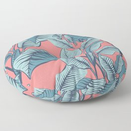 Pink Exotic Tropical Banana Palm Leaf Print Floor Pillow
