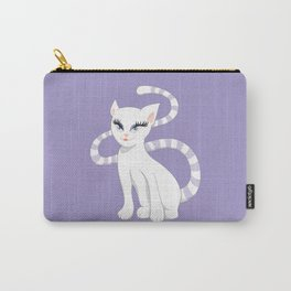 Pretty white cartoon kitty cat Carry-All Pouch