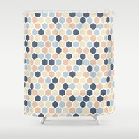 honeycomb Shower Curtains featuring Honeycomb by 603 Creative Studio