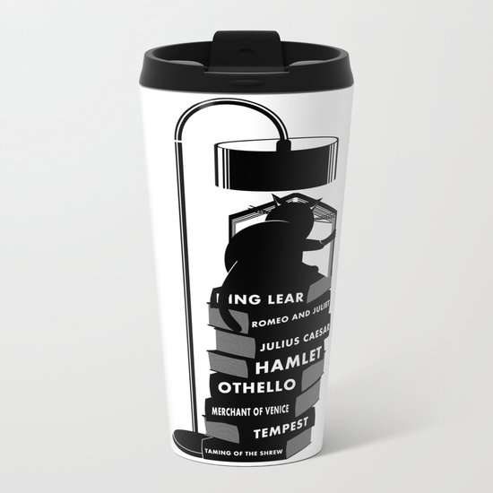 CAT READING SHAKESPEARE Metal Travel Mug