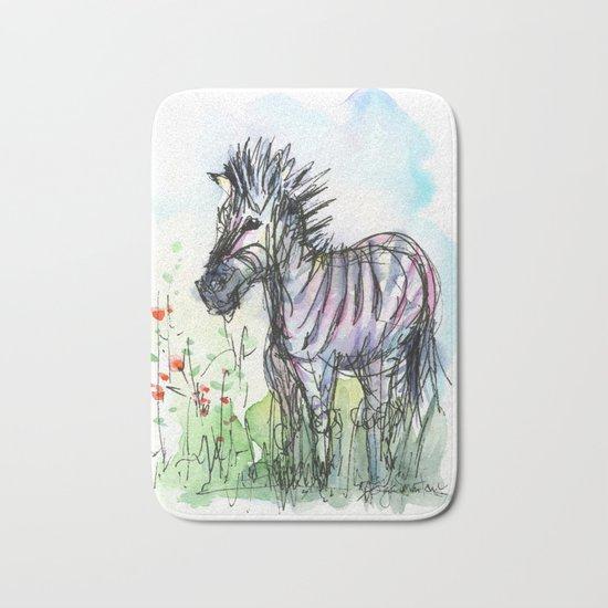 Zebra Whimsical Animal Art Bath Mat