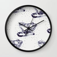 tea Wall Clocks featuring Tea by Georgiana Paraschiv