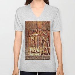 Egyptian Thoth Horus Hieroglyph Pyramid Unisex V-Neck