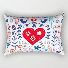 Scandi folk floral white Rectangular Pillow