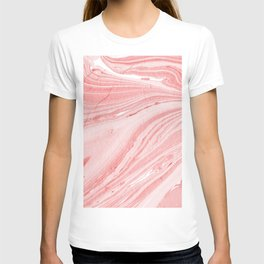 Pink ink marble texture T-shirt