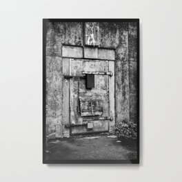Old War Bunker Black And White Metal Print