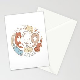 Seven cute cats. Stationery Cards