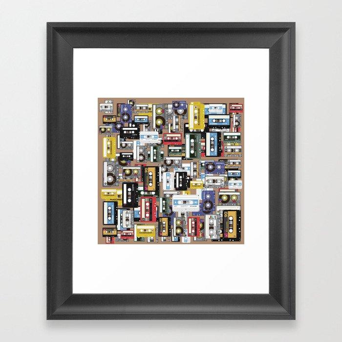 Retro cassette tape pattern Gerahmter Kunstdruck