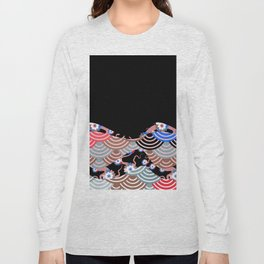Nature background with japanese sakura flower Cherry, black wave circle pattern Long Sleeve T-shirt