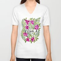 tropical V-neck T-shirts featuring Killin' It – Tropical Pink by Cat Coquillette