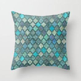 Moroccan Inspired Precious Tile Pattern Throw Pillow