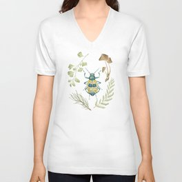 Coleoptera beetle in the Forest Unisex V-Neck