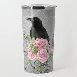 Wonderful crow with flowers Travel Mug