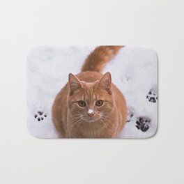 Ginger Kitty Discovers Snow! Bath Mat