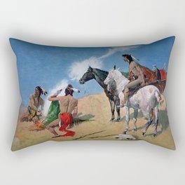 "Frederic Remington Western Art ""Smoke Signals"" Rectangular Pillow"