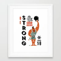 bible verse Framed Art Prints featuring Strongman Bible Verse Print by Mostaza Seed Graphics