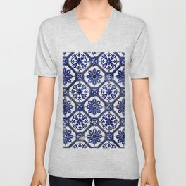 Blue and White Portuguese Tile - Unisex V-Neck