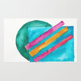 180819 Geometrical Watercolour 3  | Colorful Abstract | Modern Watercolor Art Rug