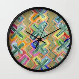 Colorful X-Pattern Wall Clock