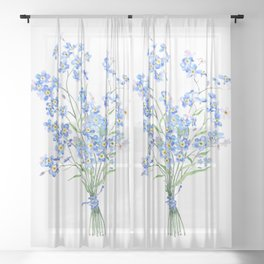 blue forget me not bouquet 2020 Sheer Curtain