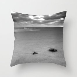 CRAB SHELL ON THE SAND Throw Pillow