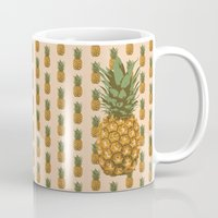 pineapples Mugs featuring Pineapples by brocoli art print