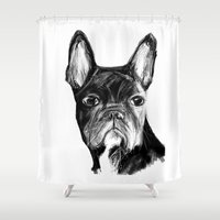 french bulldog Shower Curtains featuring French Bulldog by James Peart
