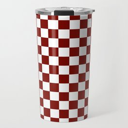 Vintage New England Shaker Barn Red and White Milk Paint Jumbo Square Checker Pattern Travel Mug