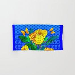 YELLOW BUTTERFLIES, ROSES, & BLUE OPTICAL ART Hand & Bath Towel