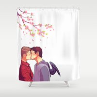 cherry blossoms Shower Curtains featuring Cherry Blossoms by brightfallenstars