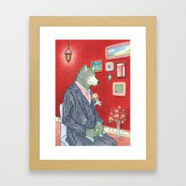 Everyday Animals - Mr Wolf gets ready for his wedding Framed Art Print