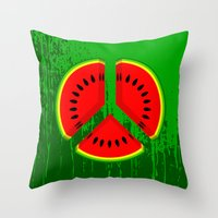 watermelon Throw Pillows featuring Watermelon by mailboxdisco