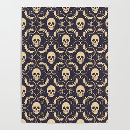 Happy halloween skull pattern Poster