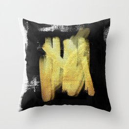 Gilded Ink 4 - black and white ink strokes, gold leaf Throw Pillow