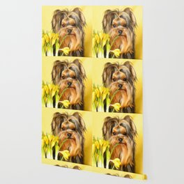 Spring Yellow Crocuses With Yorkie Puppy #decor #society6 Wallpaper