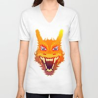 charizard V-neck T-shirts featuring Flaming Dragon by Head Glitch