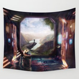 A Small Step and a Breath of Fresh Air Wall Tapestry