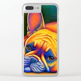 Colorful French Bulldog Rainbow Dog Pet Portrait Clear iPhone Case