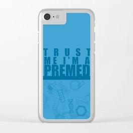 Trust Me I'm a Premed - Blue Clear iPhone Case