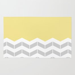 Grey, White & Yellow Half Chevron Rug