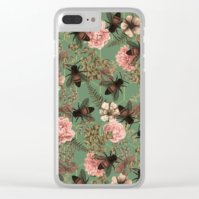 Bees Pattern Clear iPhone Case