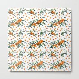 Watercolor orange fruit pattern  Metal Print