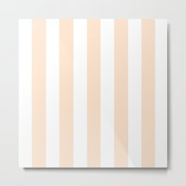 Lumber pink - solid color - white vertical lines pattern Metal Print