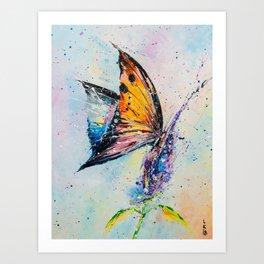 Butterfly on fiower Art Print