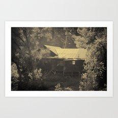 Merced River Creepy Cabin  Art Print