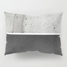 Raw Concrete and Black Leather Pillow Sham