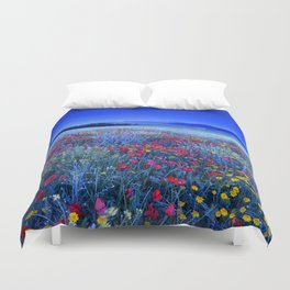 Spring poppies at blue hour Duvet Cover